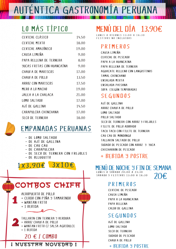 SERVICIO A DOMICILIO COMIDA PERUANA