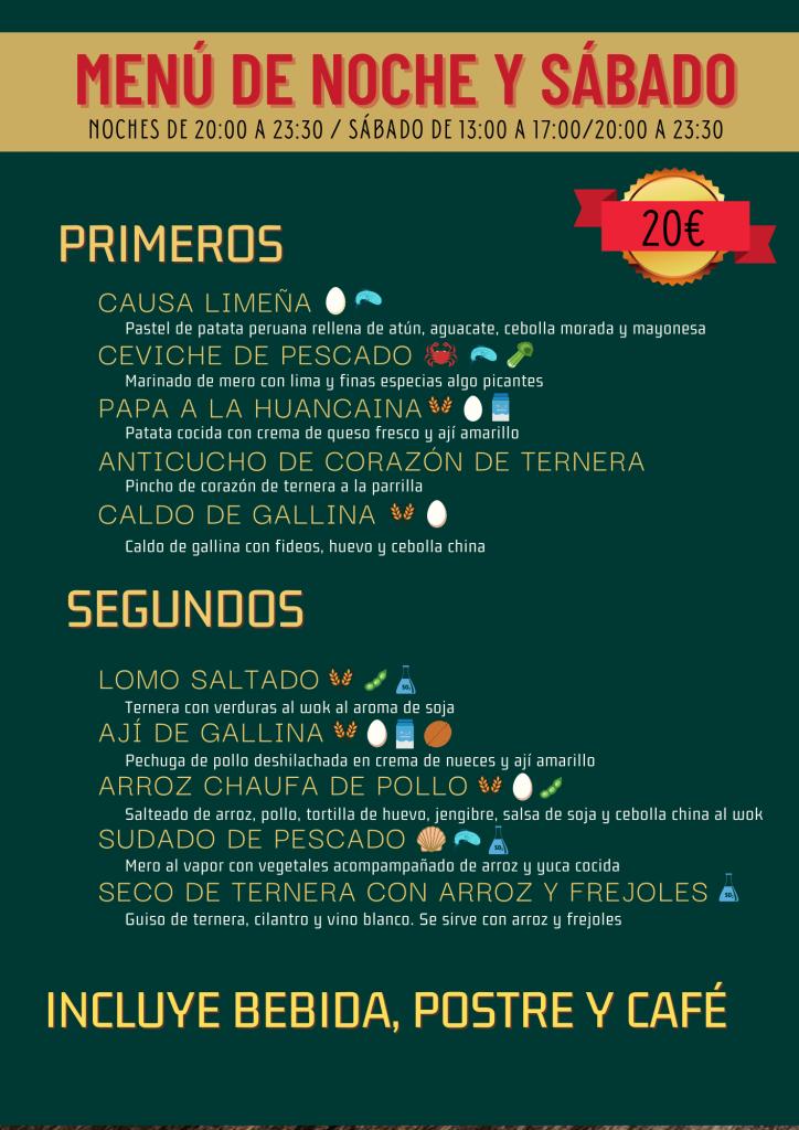 menu peruano chincha casa peru